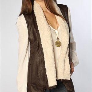 Jack by BB Dakota Soft Faux Leather Sherpa Vest